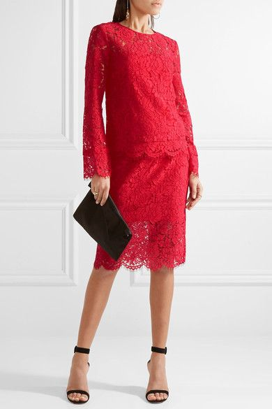 Diane von Furstenberg - Glimmer Corded Lace Pencil Skirt - Red - US2