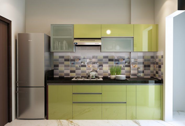 A Simple Minimal One Wall Kitchen Cabinet Design With Compact Style Small Indian Modular K Interior Kitchen Small Kitchen Design Color Simple Kitchen Design