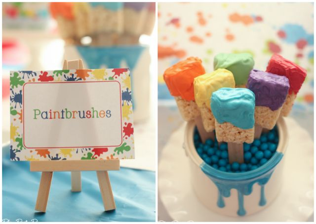 Rice krispy treat paintbrushes, perfect for an art party from playpartypin.com #UltimatePlaydate #shop
