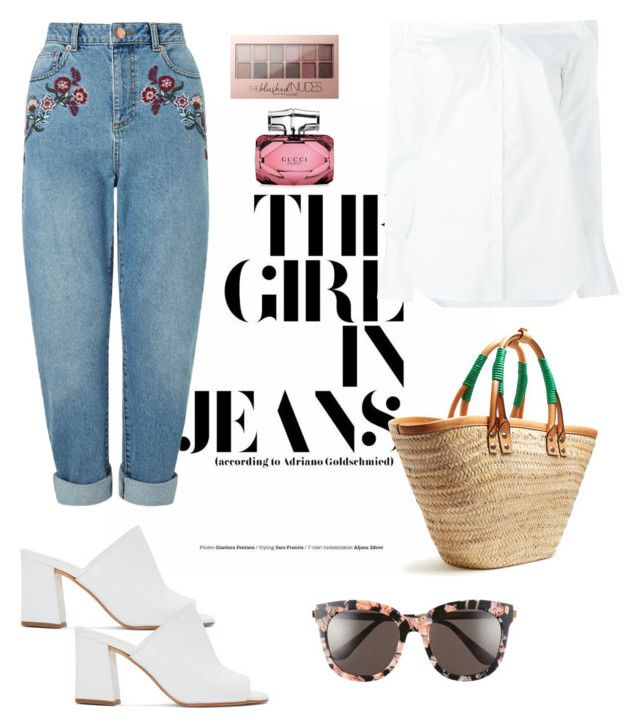 """Girl in Jeans"" by ann-kim-1 on Polyvore featuring Miss Selfridge, Maryam Nassir Zadeh, rag & bone, Balenciaga, Maybelline, Gucci and Gentle Monster"