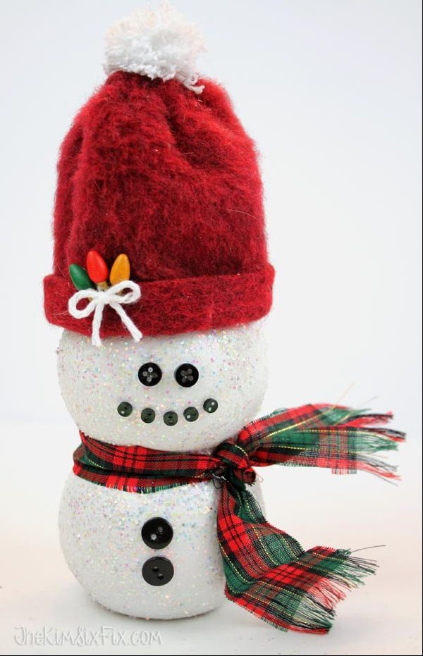 So why not play up the shape with a white coat of paint and some adorable black buttons and accessories? Frosty, is that you? Get the tutorial at The Kim Six Fix »  - GoodHousekeeping.com