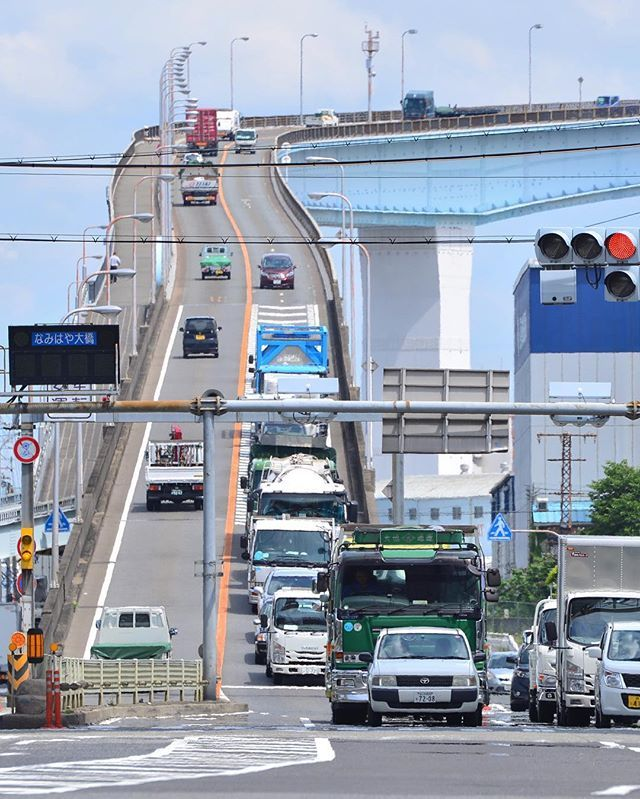 . . Location:Osaka Japan . ずいぶん前から気になってた場所です 撮れた写真はイメージと違うけど笑 . #なみはや大橋#大阪#IKEA行く途中