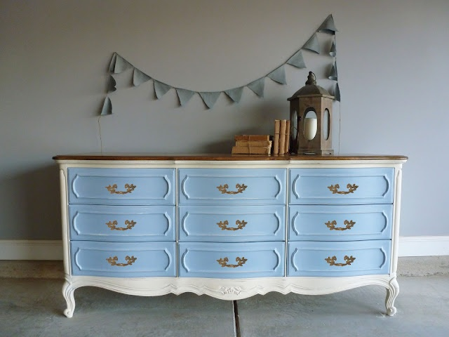 More Blue And White Old With Louis Drawers Topped Off A