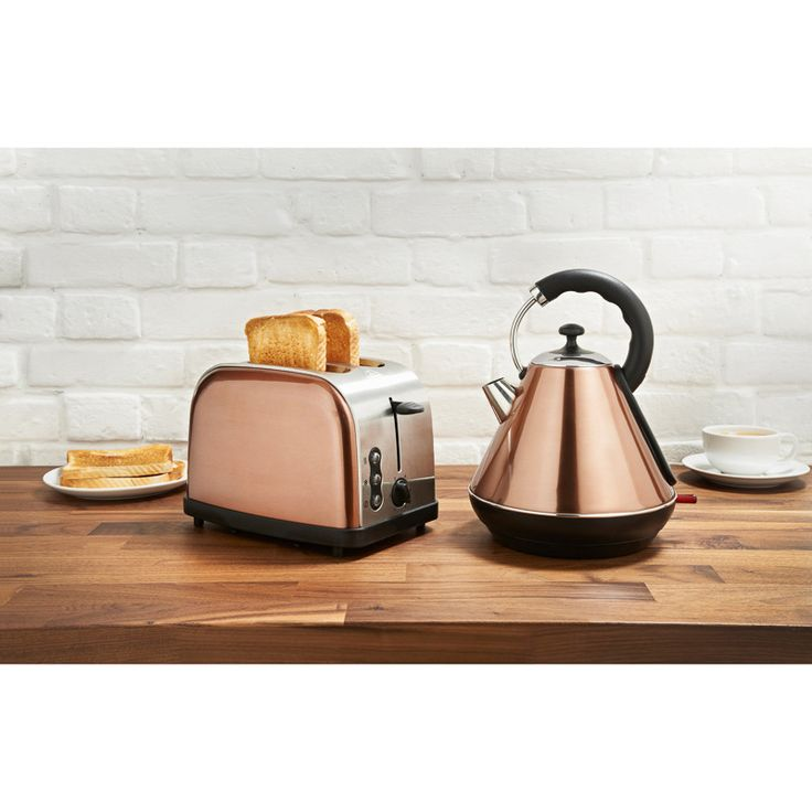 Copper Breakfast Set - Boasting a sleek and stylish copper design, this kettle and toaster set is a must have for the modern kitchen - kitchen appliances