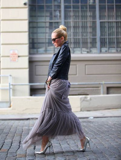 Currently Craving: Ballerina Skirts | Add some edge to your look with a leather jacket and statement pumps. The contrast between the girly tulle skirt and tough jacket makes this overall outfit fresh yet unexpected. | #niciasonoki #fashionista