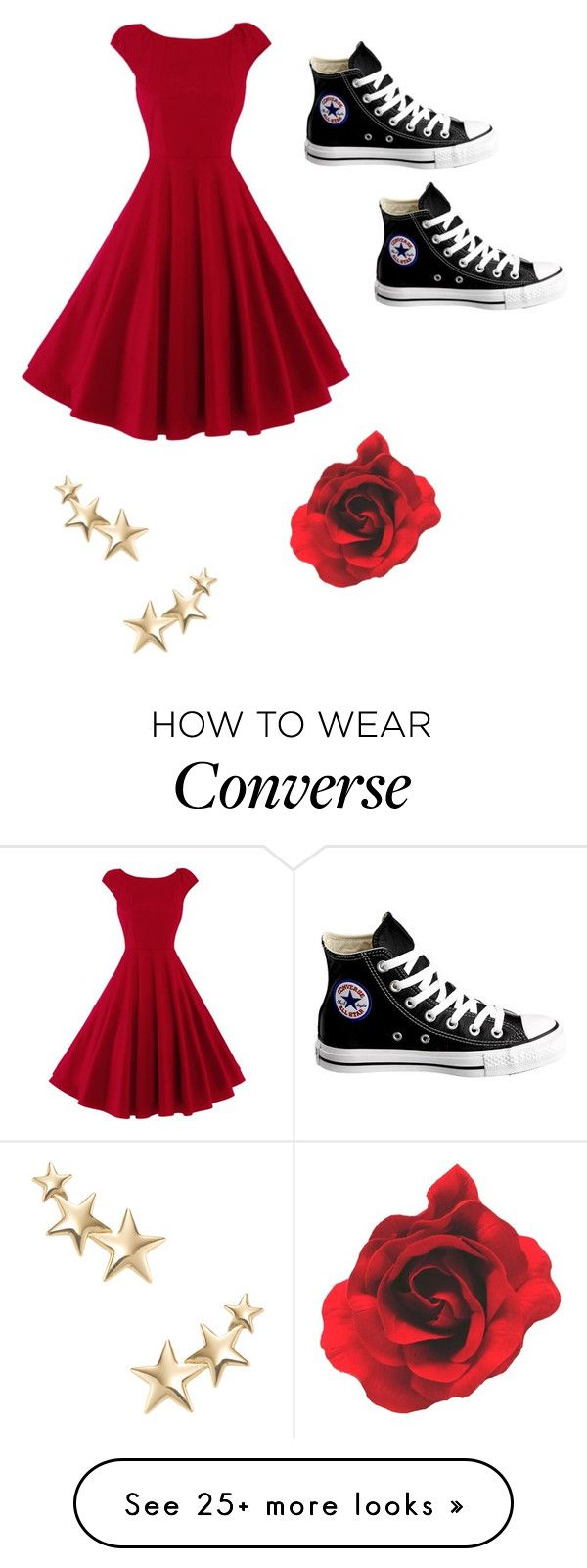 """Cute but simple"" by voliegrl on Polyvore featuring Converse and Kenneth Jay Lane"