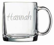 Personalized Large Glass Mug from www.wellappointedhouse.com #homedecore #decorate #redecorate #dinnerware #glassware