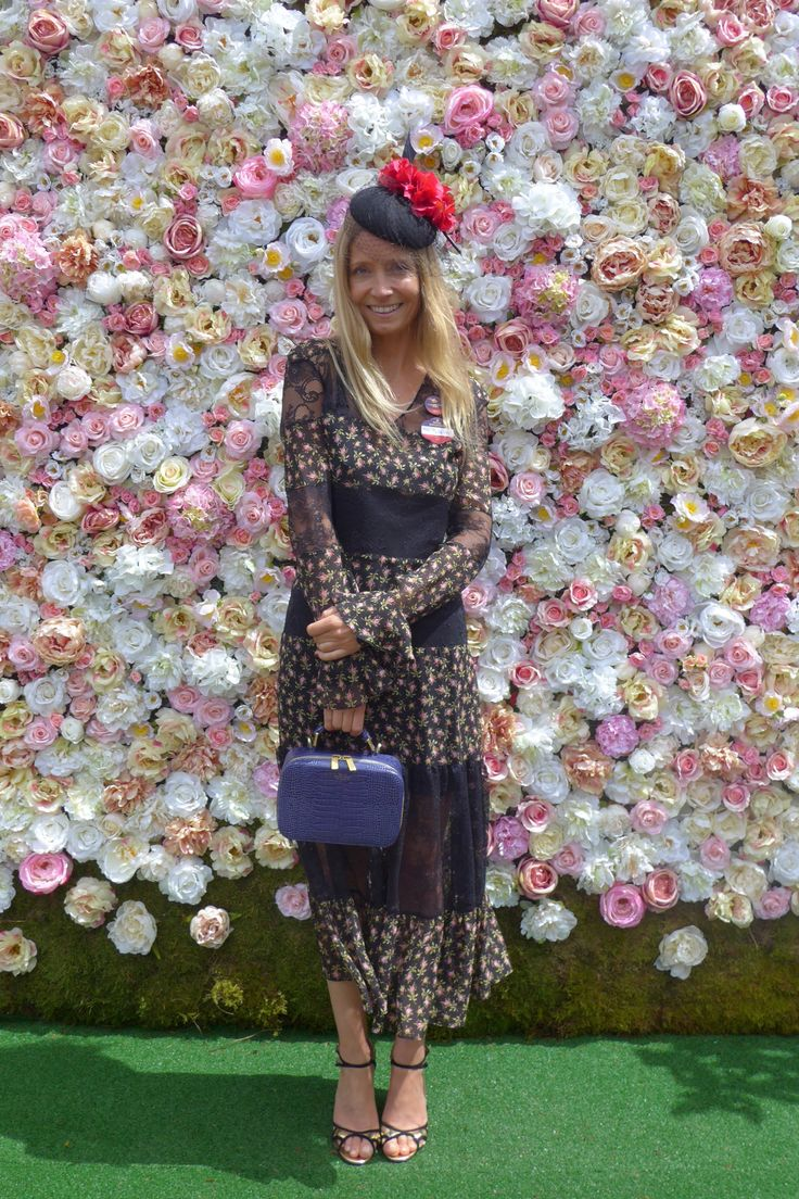 """Greetings from day one of Royal Ascot. The sun is out (ish) and today I'm wearing a Philosophy di Lorenzo Serafini dress, a Jess Collett hat, Smythson bag and Jimmy Choo shoes.""   - HarpersBAZAAR.co.uk"