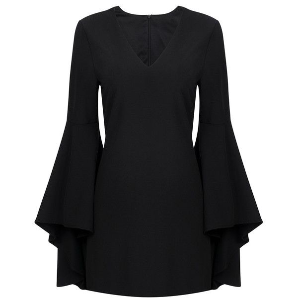 Yoins Fashion V-neck Long Sleeves Mini Dress ($39) ❤ liked on Polyvore featuring dresses, black, long sleeve v neck dress, v neckline dress, longsleeve dress, long sleeve dress and v neck short dress