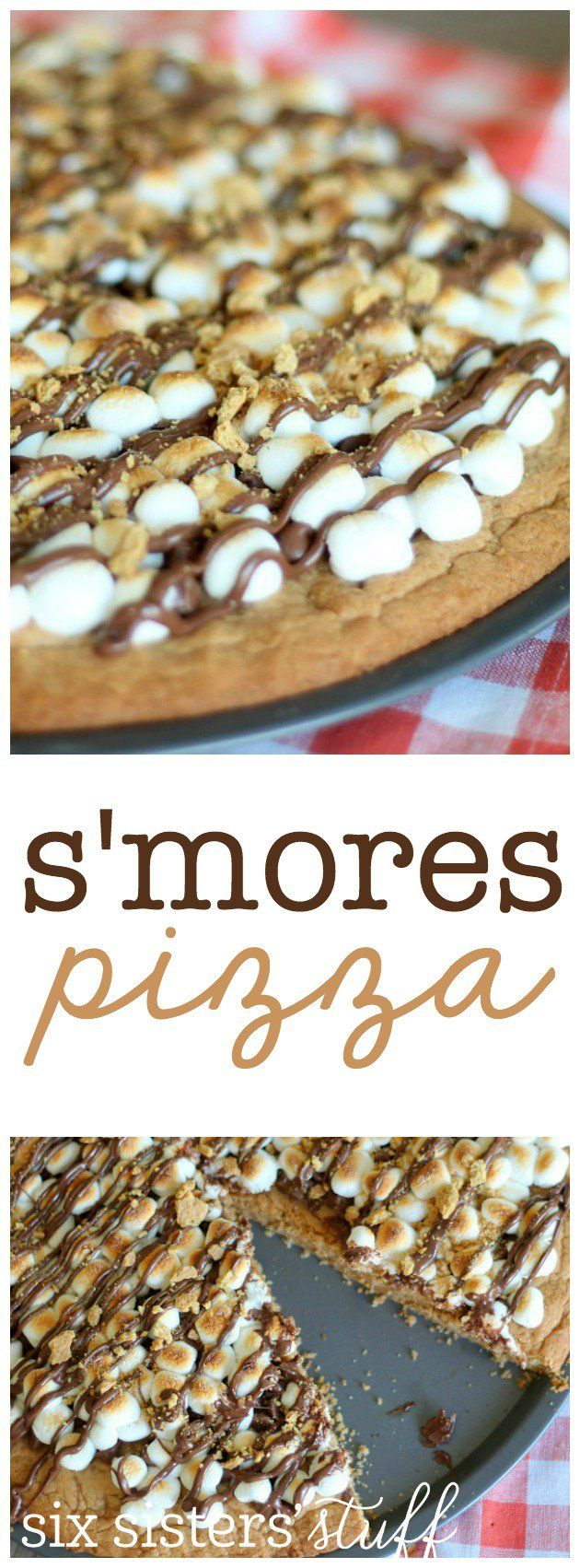 S'mores Pizza from SixSistersStuff.com. Delicious graham cracker cookie crust covered in toasted marshmallows and chocolate. (Melted Chocolate Brownies)