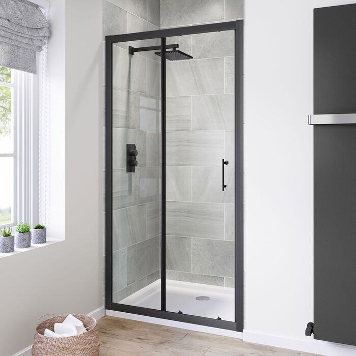 Black Frame Sliding Shower Door 1000mm Black Shower Door Soak Com Black Shower Doors Shower Remodel Sliding Shower Door