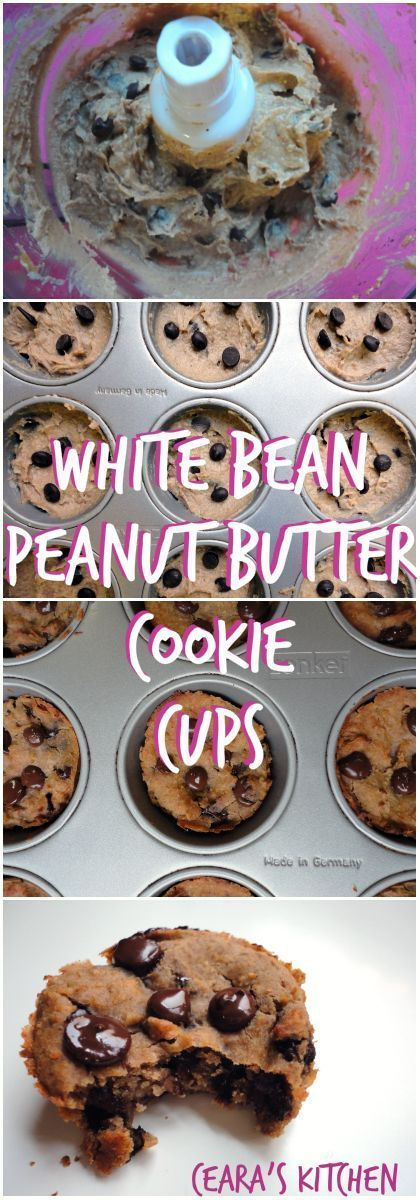 These Flourless White Bean Chocolate Chip Cookie Cups are the perfect soft & chewy chocolate chip cookies!