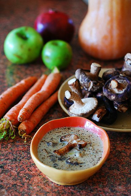 Creamy wild mushroom soup with Shiitake mushrooms.  The creaminess in this soup comes from pureed mushrooms, not heavy cream.  | JuliasAlbum.com