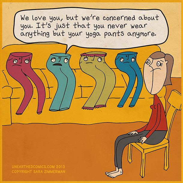 Are your jeans about to stage an intervention? What's so wrong with living in your yoga pants anyway? #yoga #funny