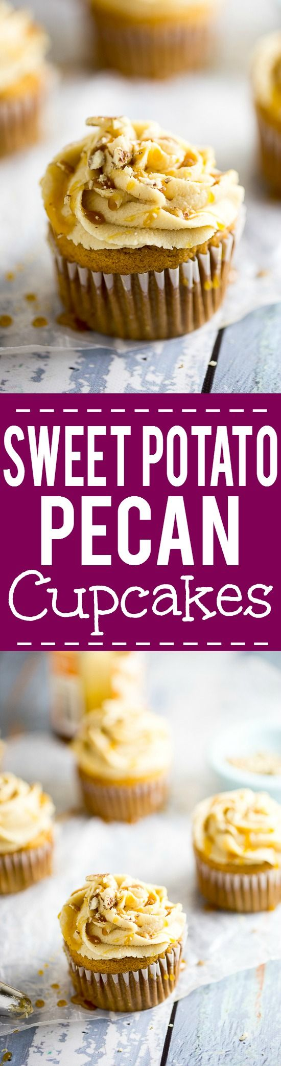 Sweet Potato Pecan Cupcakes Recipe with Caramel Frosting -Rich and moist Sweet Potato Pecan Cupcakes are topped with a sweet caramel frosting. These festive cupcakes have all your favorite Fall flavors and would be a delicious non-pie addition to your Thanksgiving dessert table.