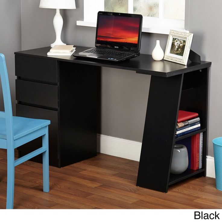 College Dorm Room Furniture Contemporary Student Computer Desk Black Storage New