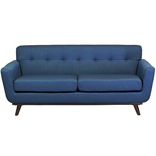 Midcentury Modern Design Tree Home Tiffany 2 Seater Vintage Inspired Sofa Dark Blue