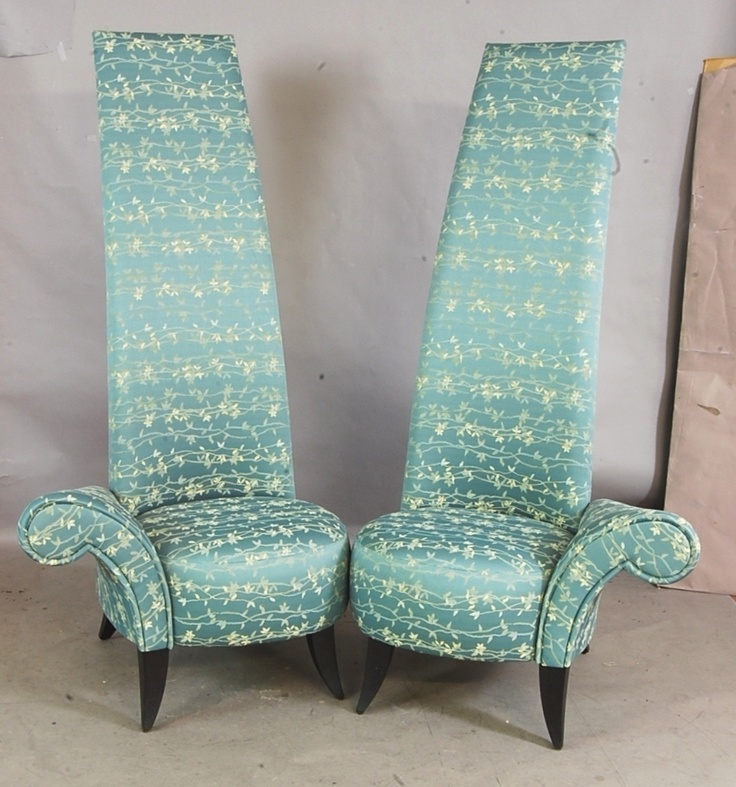 Chairs Pair Custom Made Modern Style Cypress Green White Floral Decoration