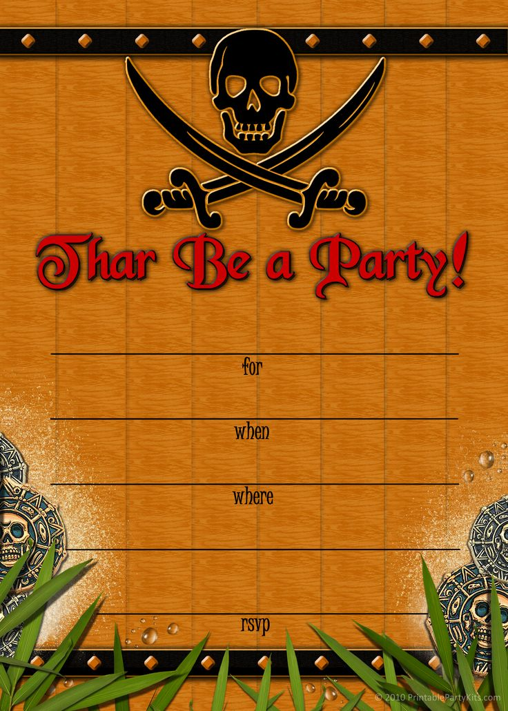 263 best Party Time Pirates images – Free Printable Pirate Birthday Party Invitations