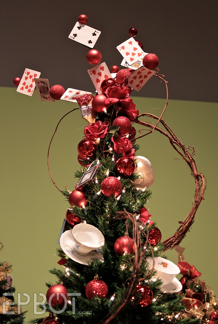 Alice in Wonderland Christmas tree - love the cards & teacups!