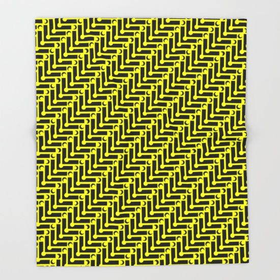 Yellow and Black Geometric Pattern Throw Blanket by textart