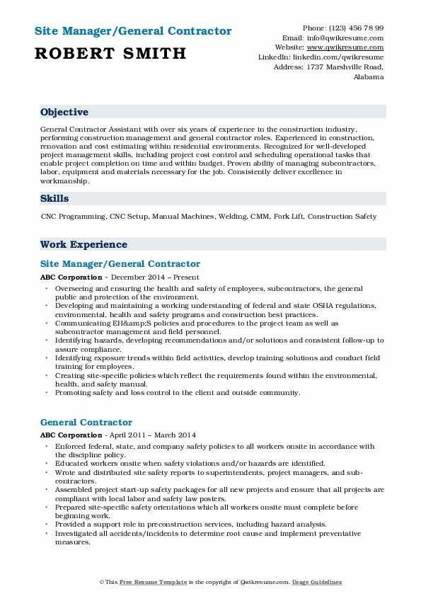 General Contractor Resume Samples Qwikresume Job Resume Examples Job Resume Samples Resume Examples