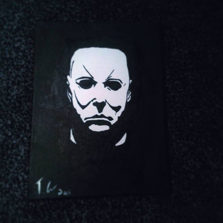 A painting of Michael Myers from Halloween with acrylic ...