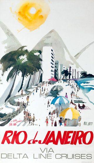 DP Vintage Posters - Delta Line Cruises Rio de Janeiro Copacabana Original Brazil Travel Poster
