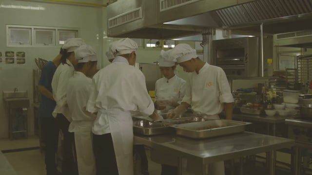 HCTC is a vocational school that trains students in all aspects of the hospitality industry - here they learn Thai and Western style cooking, restaurant service, housekeeping and front of house skills.