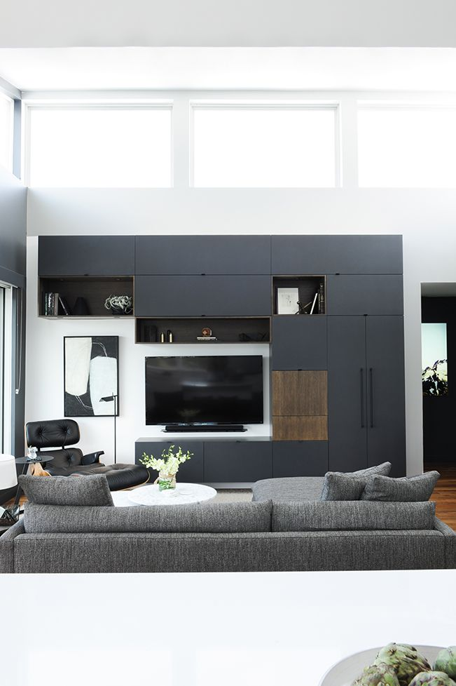 Modern contemporary living room design with black