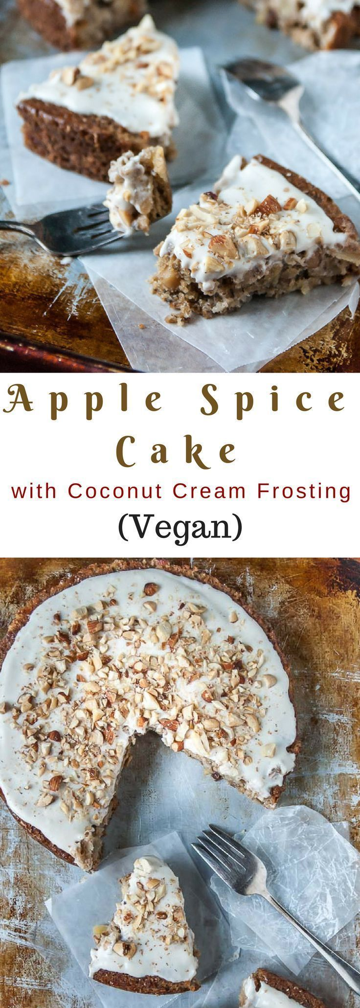 Spiced apples and a sweet coconut cream vegan frosting are the perfect components to this fall apple spice cake!