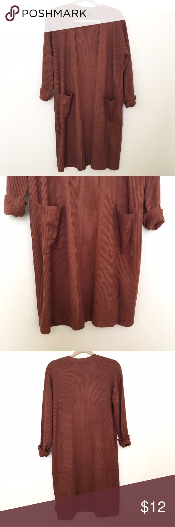 Forever 21 Open-Front Longline Cardigan NWOT New Without Tags! Open-front Longline Cardigan from Forever 21. Size Small. Rust colored. Never worn, no damage or flaws Forever 21 Sweaters Cardigans