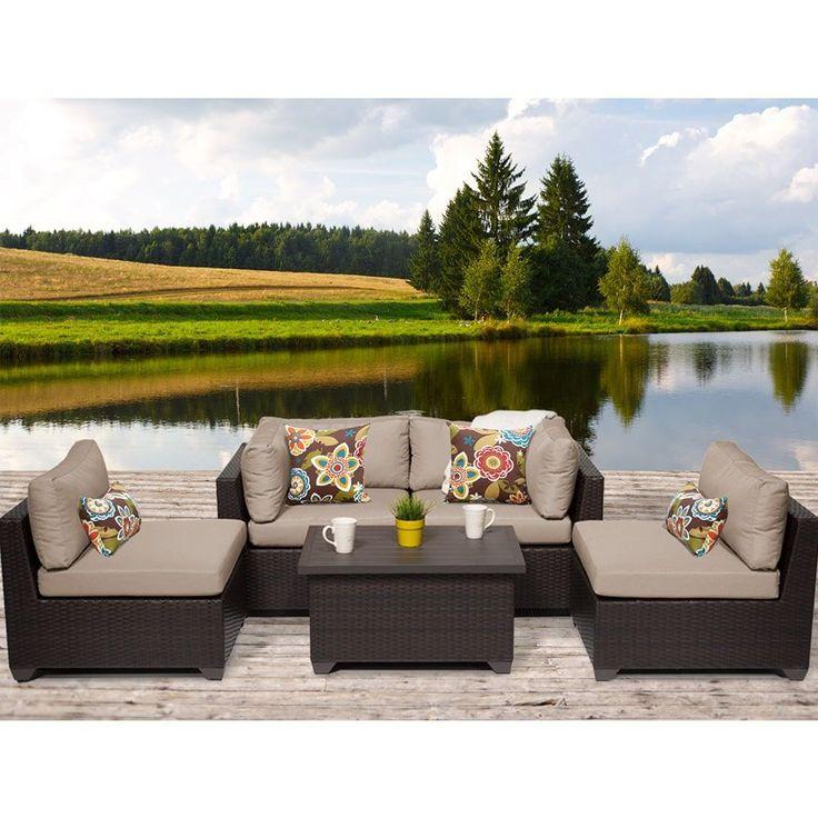 TK Classics Belle 5 Piece Outdoor Wicker Patio Furniture Set 05c