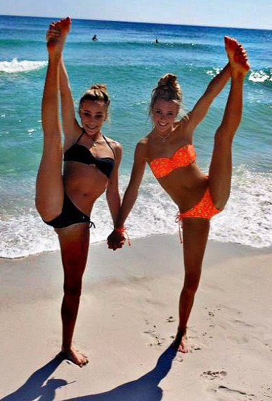 plus 0/1 Peyton Mabry and Jamie Andries cheer heel stretch at the beach  http://i-fly-with-the-stars-in-the-skyy.tumblr.com/