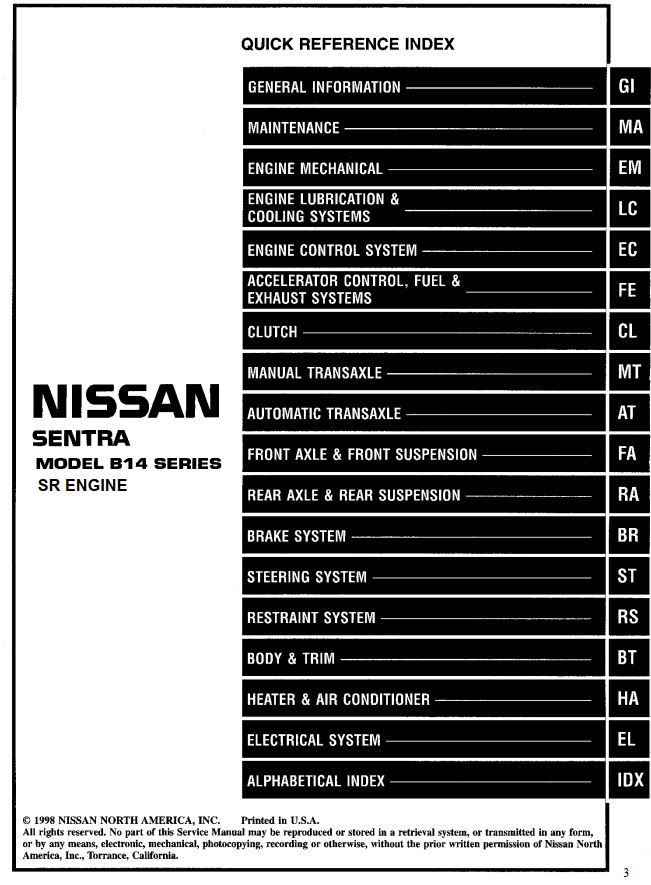 Nissan Sentra Model B14 Series Sr Engine 1999 Service Manual Automatic Transaxle Has Been Published On Procarmanuals Com Htt Nissan Sentra Nissan Engineering