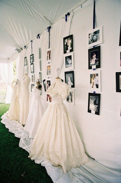 Budget friendly, high impact decorations for a wedding reception. Put the wedding gowns of the brides family on dress forms along with family photos (Mannequin Madness sells and rents dress forms)
