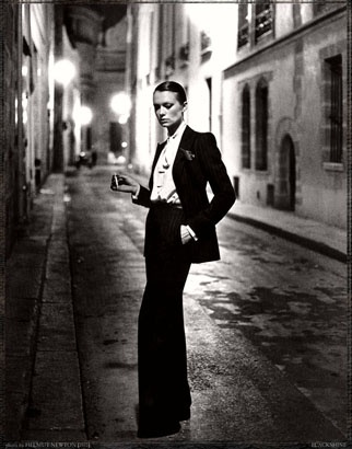 Helmut Newton, YSL, French Vogue, Rue Aubriot, Paris 1975 (dressed)   © Helmut Newton Estate. One of the prints on show at the Helmut Newton retrospective now on show in Paris, Grand Palais, til June 17th 2012.