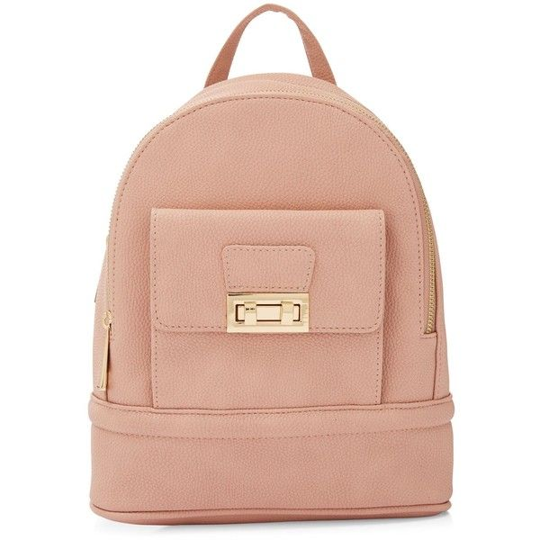 New Look Pink Twist Lock Mini Backpack ($23) ❤ liked on Polyvore featuring bags, backpacks, backpack, oatmeal, pink rucksack, pink mini backpack, mini rucksack, red backpack and mini bags