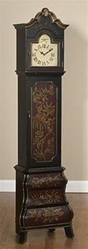 Floral-Pattern Grandfather Clock Cabinet. h1Floral-Pattern Grandfather Clock Cabinet _h1A delicate floral design on the dark wood front lends this Red Floral Clock Cabinet the air of dignity found in traditional grandfather clocks.