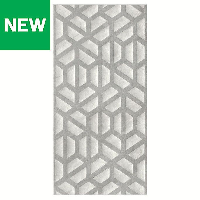 Manhattan Grey Moroccan Ceramic Wall Tile Pack Of 5 L 600mm W