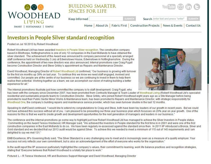 Robert Woodhead Ltd - IIP Silver recognition