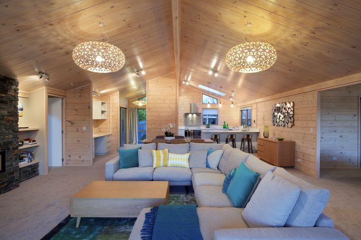 Solid blonded timber interior with raked ceiling in new Lockwood show home in Christchurch