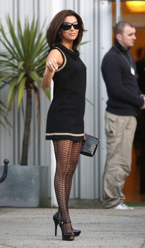 Eva Longoria Stunning Legs In Stockings Little Black