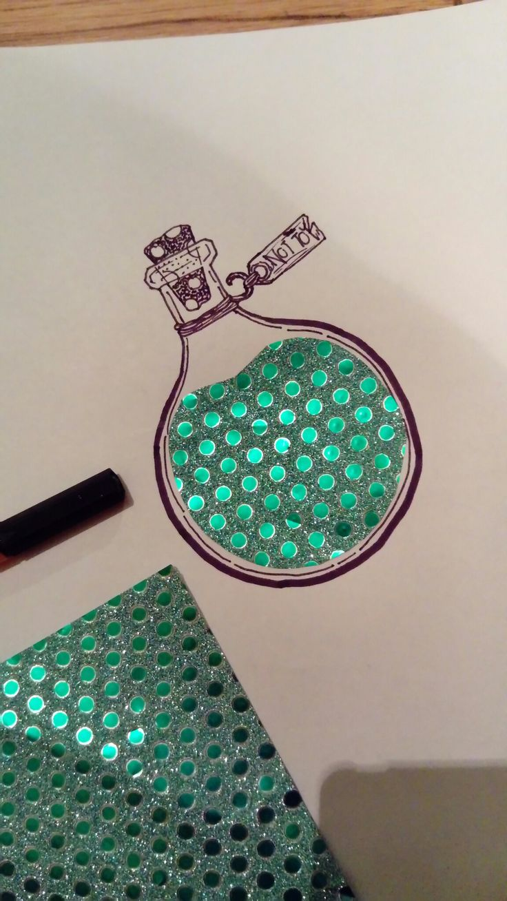 #drawing Cute bottle doodle with sparkling paper