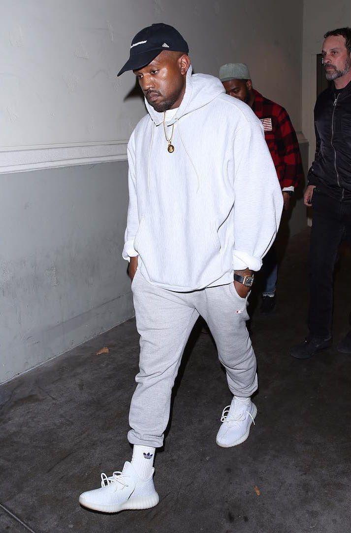 Kanye West Rocks Champion Sweatpants Adidas Yeezy Boost Sneakers And Richard Mille Watch Kanye West Outfits Kanye West Style Yeezy Outfit