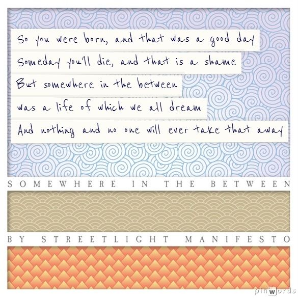 Lyrics 'Somewhere In The Between' by Streetlight Manifesto - SO I WAS BORN! And that is was good day (=