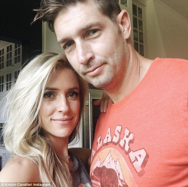 Happy couple: The blonde cozied up to Jay Cutler in an adorable shot she posted about a we...