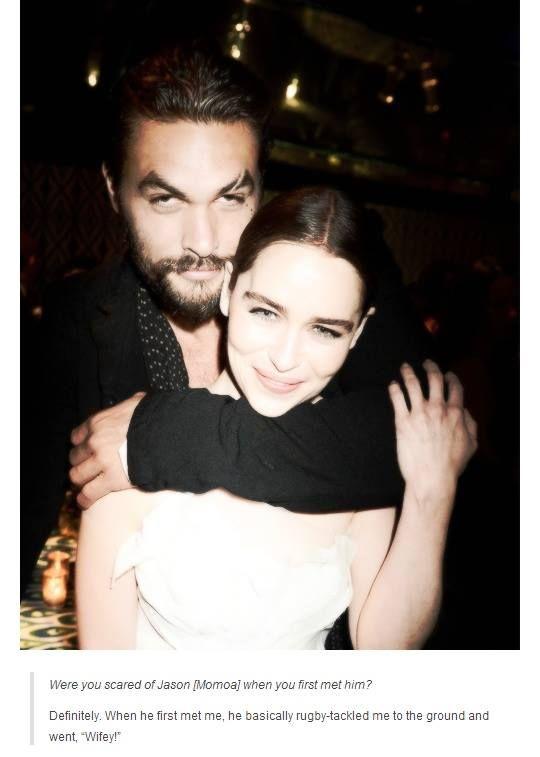 Emilia Clarke and Jason Momoa's first meeting.