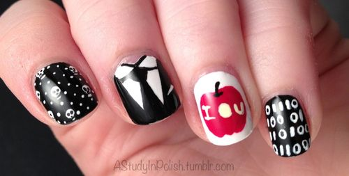 Sherlock nails. I want to do this but my nails are too small to do designs.