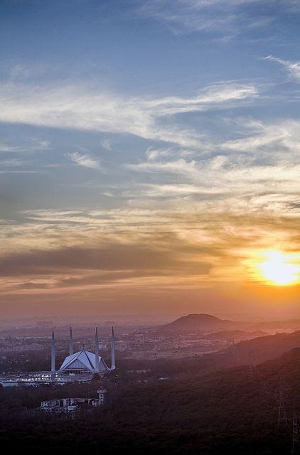 Sunset over Faisal Mosque, Islamabad, Pakistan. by asad_malik, via Flickr - Pakistan